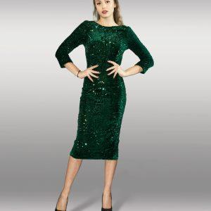 deb9d204da2 Ново · Зелена рокля с пайети